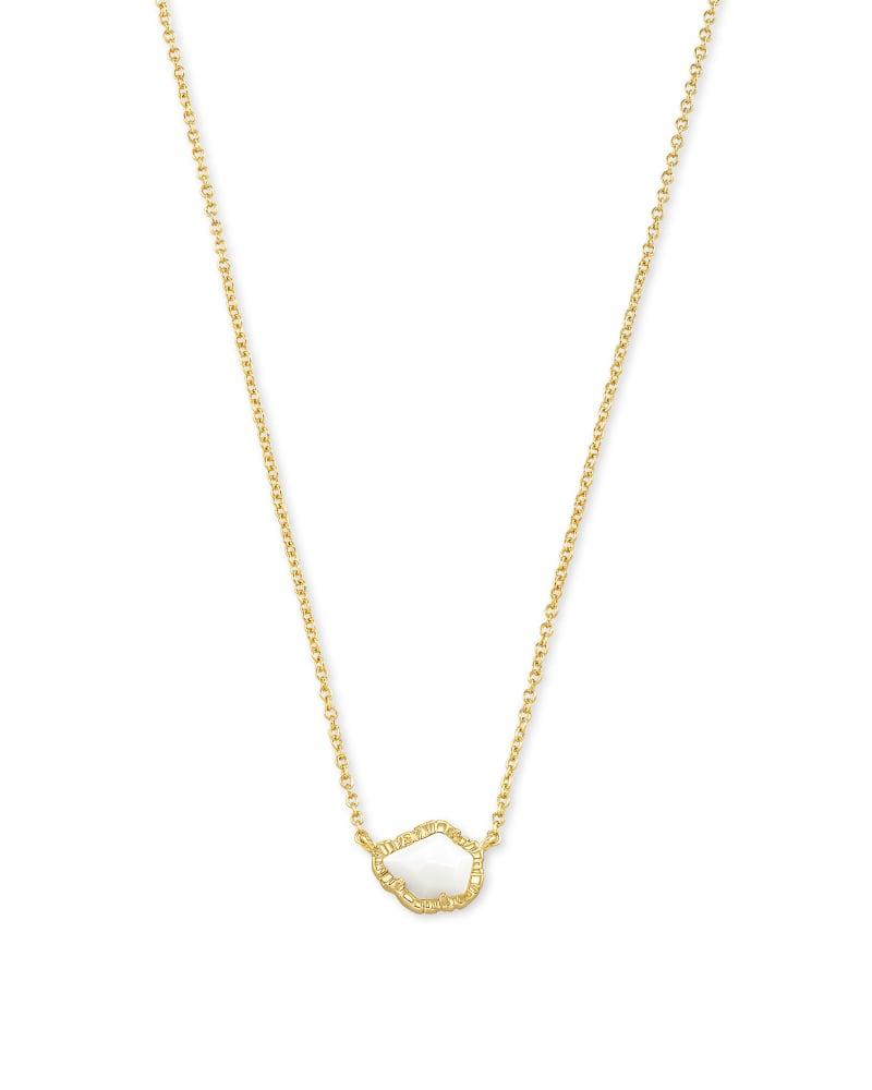Tessa Gold Small Pendant Necklace in White Mussel   Kendra Scott