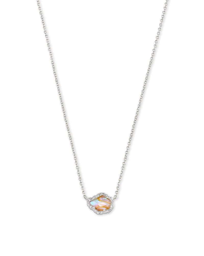 Tessa Silver Small Pendant Necklace In Iridescent Abalone