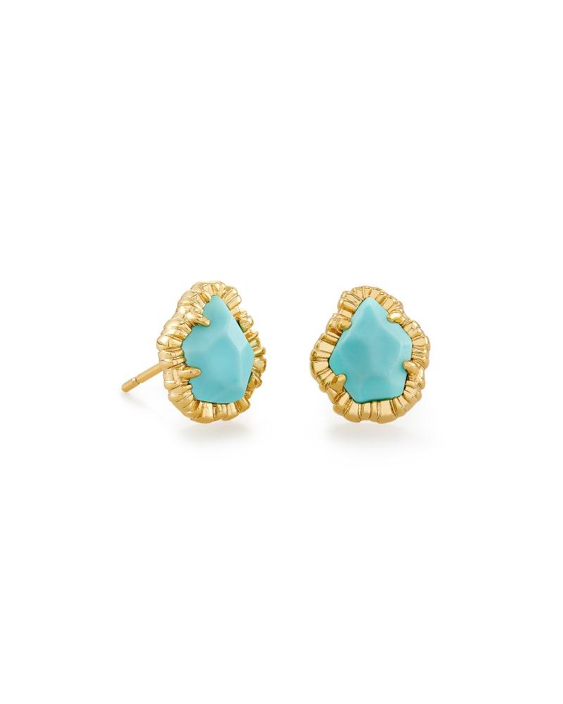 Tessa Gold Small Stud Earrings in Light Blue Magnesite