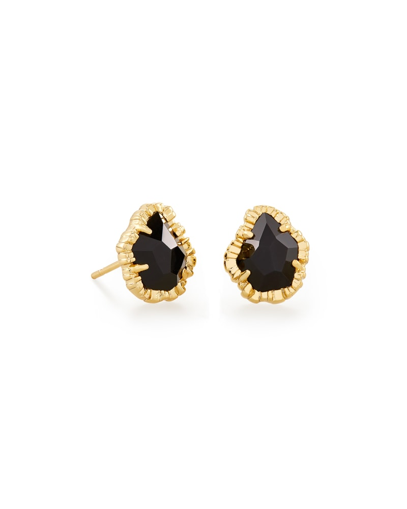 Tessa Gold Small Stud Earrings in Black Obsidian