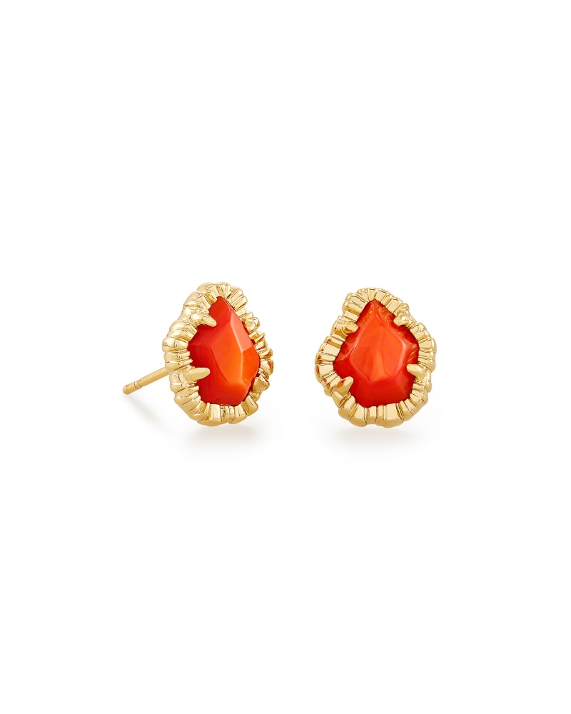 Tessa Gold Small Stud Earrings in Papaya Mother of Pearl