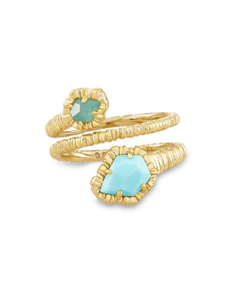 Tessa Gold Wrap Ring in Light Blue Magnesite   Kendra Scott