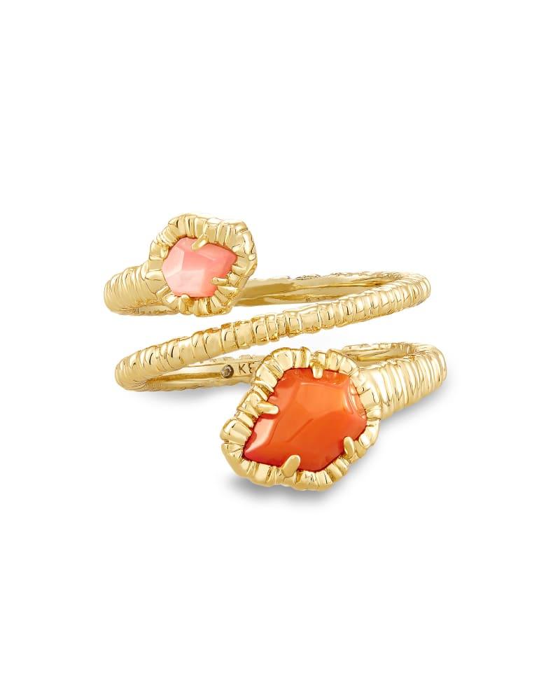Tessa Gold Wrap Ring in Papaya Mother of Pearl
