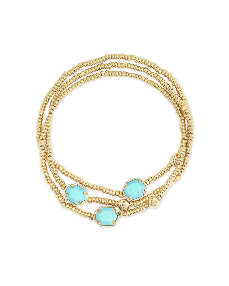 Tomon Gold Stretch Bracelet in Light Blue Magnesite
