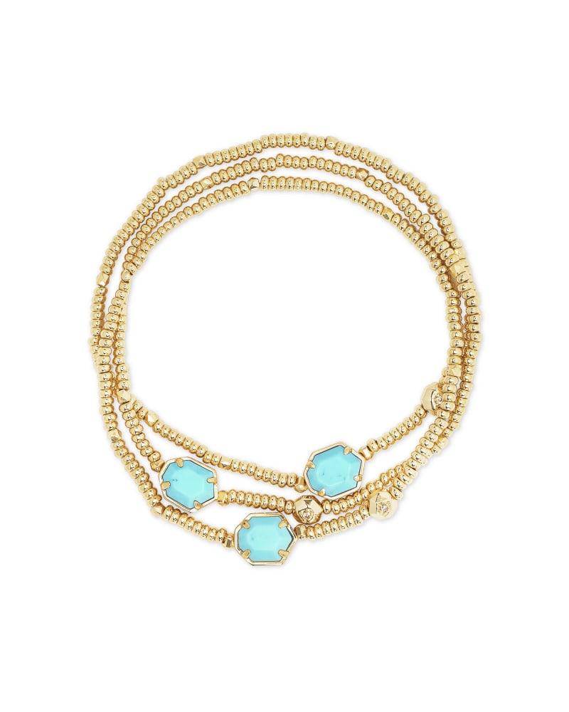 Tomon Gold Stretch Bracelet in Light Blue Magnesite   Kendra Scott