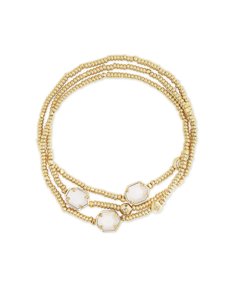 Tomon Gold Stretch Bracelet in White Mussel   Kendra Scott