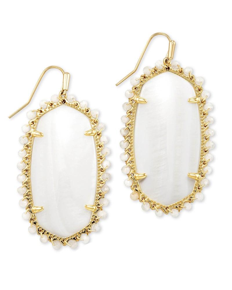 Beaded Danielle Gold Drop Earrings in White Mussel | Kendra Scott