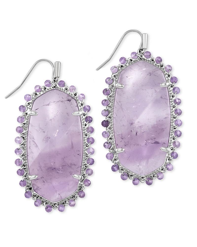 Beaded Danielle Silver Drop Earrings in Purple Amethyst