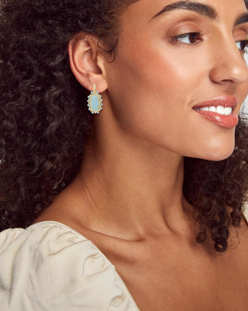 Beaded Lee Gold Drop Earrings in Light Blue Magnesite
