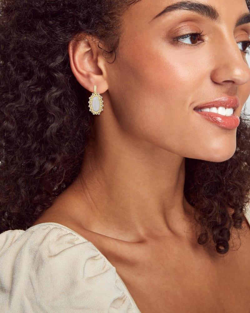 Beaded Lee Gold Drop Earrings in White Mussel