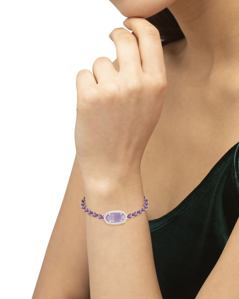Elaina Braided Silver Friendship Bracelet in Purple Amethyst