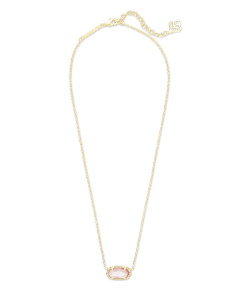 Elisa Satellite Gold Pendant Necklace in Rose Mother Of Pearl