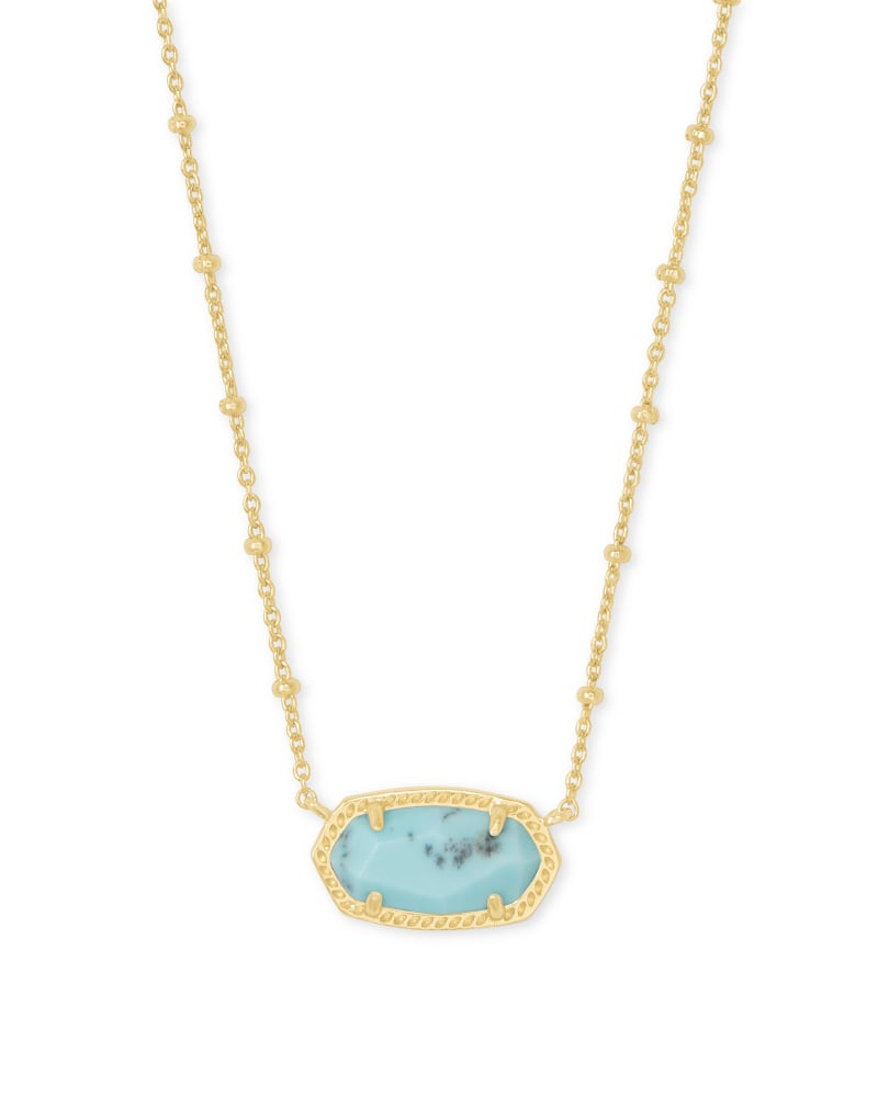 Elisa Satellite Gold Pendant Necklace in Light Blue Magnesite
