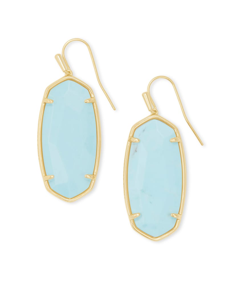 Faceted Elle Gold Drop Earrings in Light Blue Magnesite