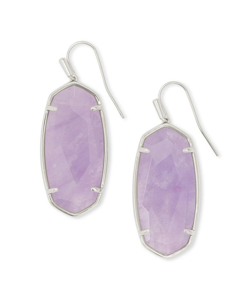 Faceted Elle Silver Drop Earrings in Purple Amethyst