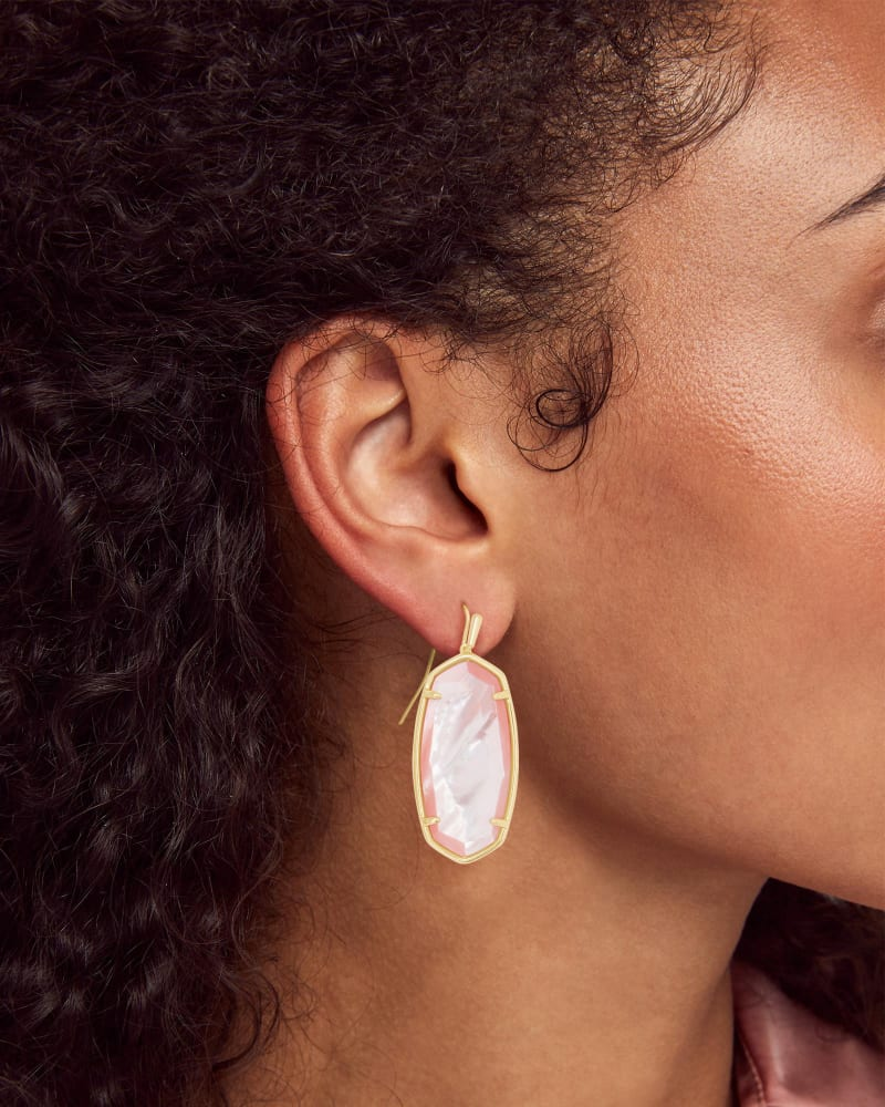 Faceted Elle Gold Drop Earrings in Rose Mother Of Pearl