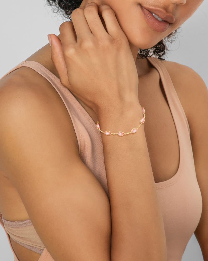 Emilie Gold Chain Bracelet in Rose Mother Of Pearl