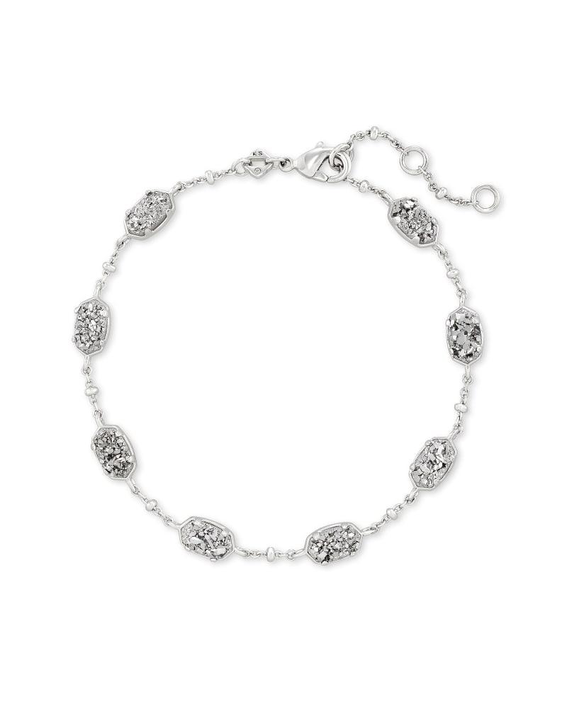 Emilie Silver Chain Bracelet in Platinum Drusy