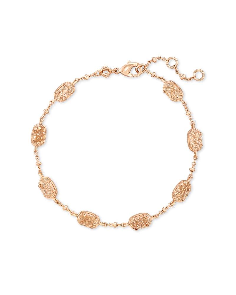 NWT Kendra Scott Sadie Gold Stretch Bracelet In Maroon Mix//Rose Gold