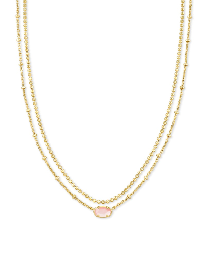 Emilie Gold Multi Strand Necklace in Rose Mother Of Pearl | Kendra Scott