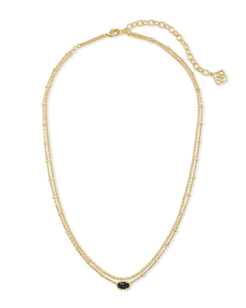Emilie Gold Multi Strand Necklace in Black Obsidian