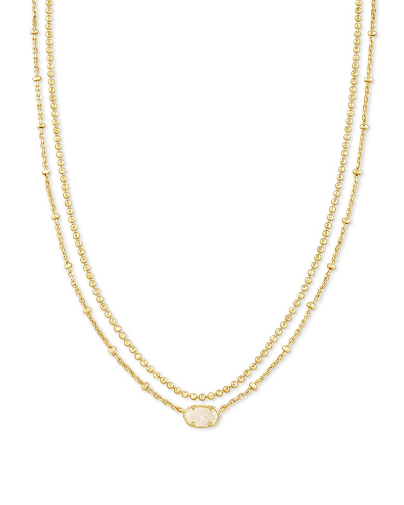 Emilie Gold Multi Strand Necklace in Iridescent Drusy | Kendra Scott