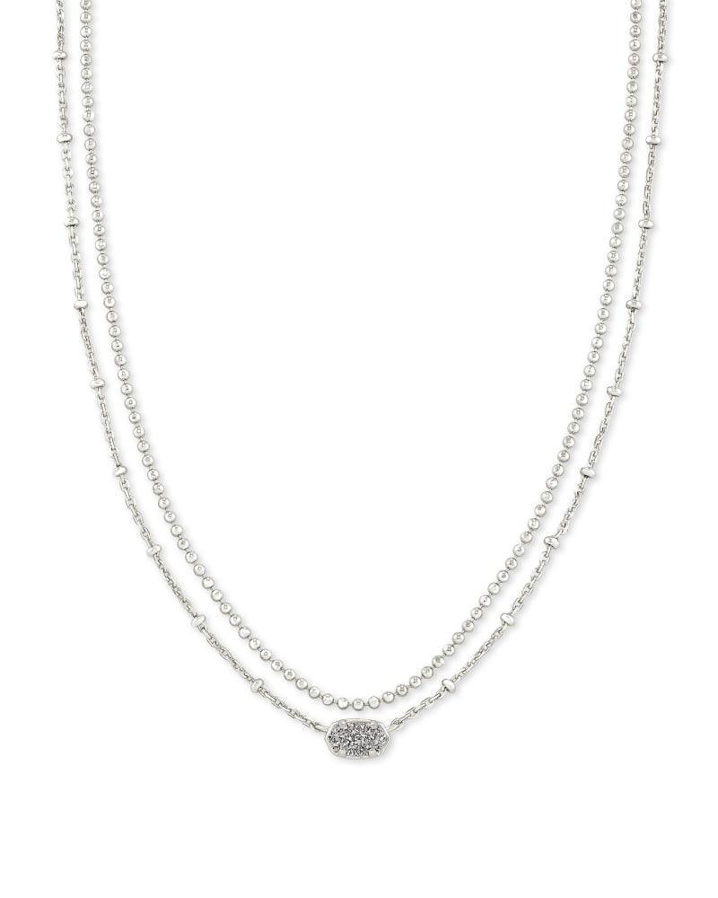 Emilie Silver Multi Strand Necklace in Platinum Drusy