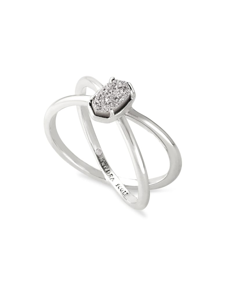 Emilie Silver Double Band Ring in Platinum Drusy