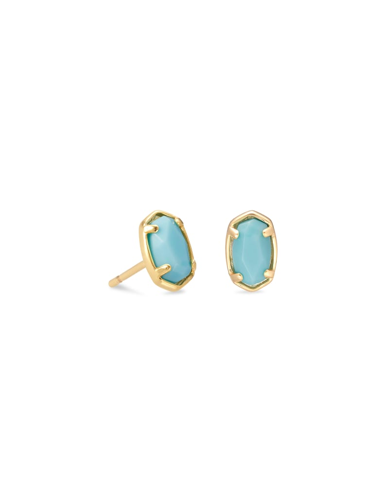 Emilie Gold Stud Earrings in Light Blue Magnesite