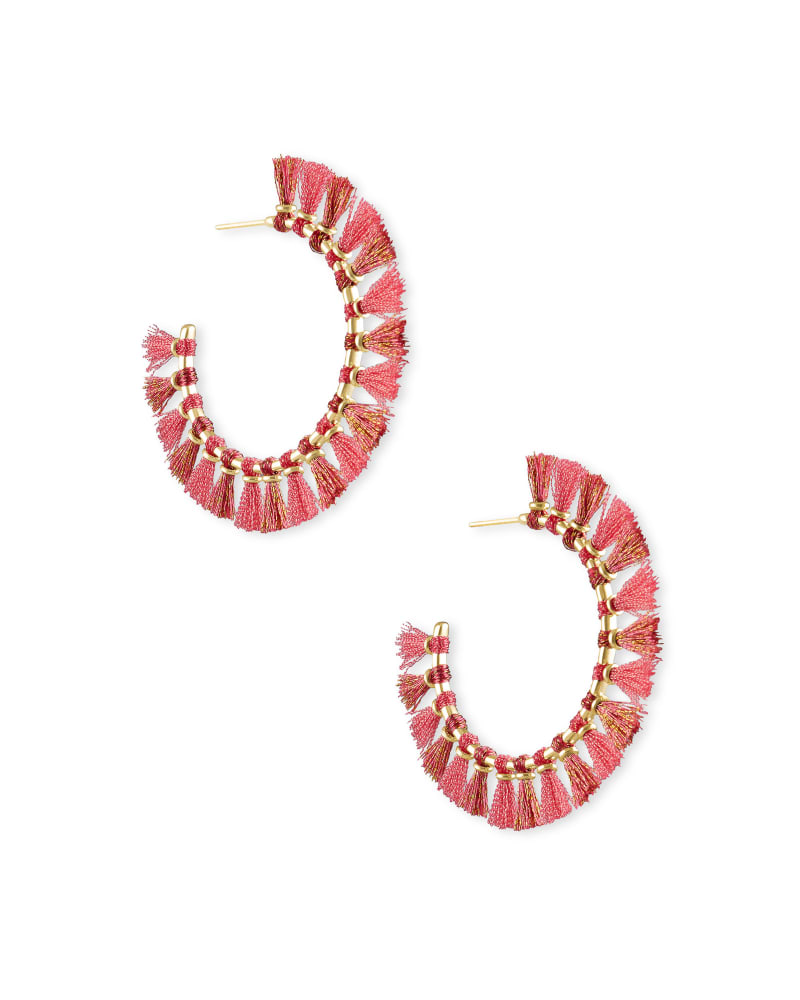Evie Gold Hoop Earrings in Pink