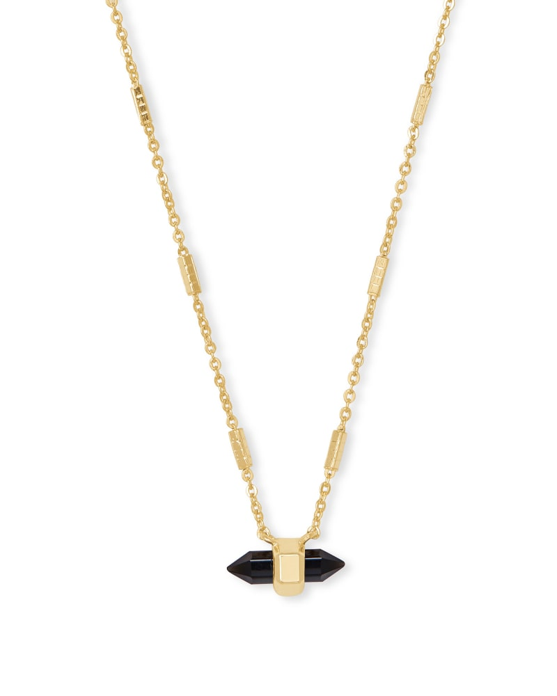 Jamie Gold Pendant Necklace in Black Obsidian