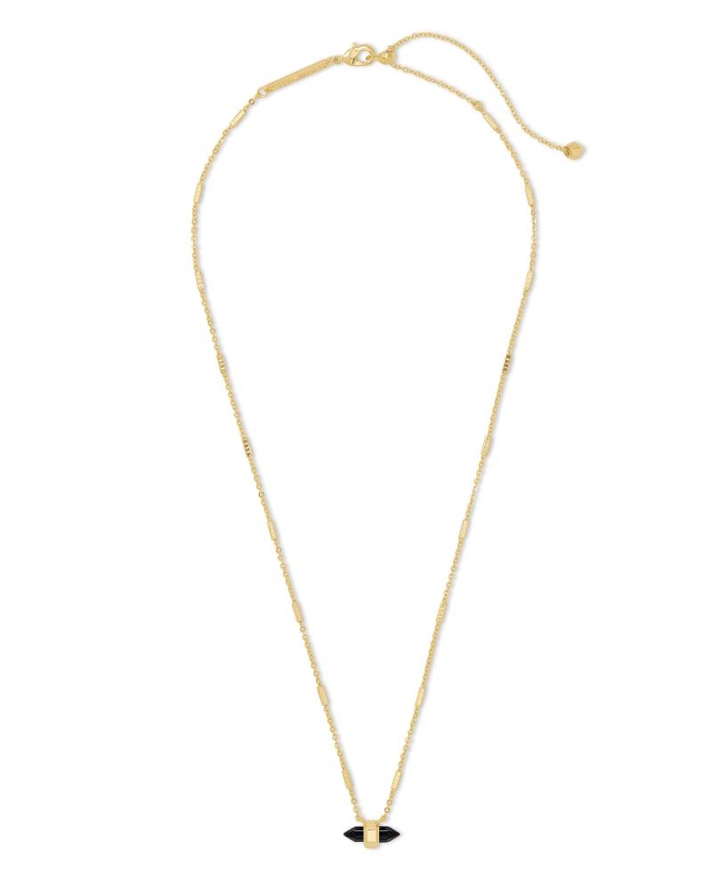 Jamie Gold Pendant Necklace in Black Obsidian