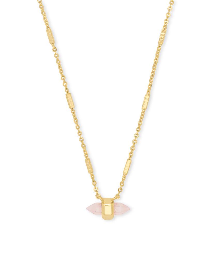 Jamie Gold Pendant Necklace in Rose Quartz