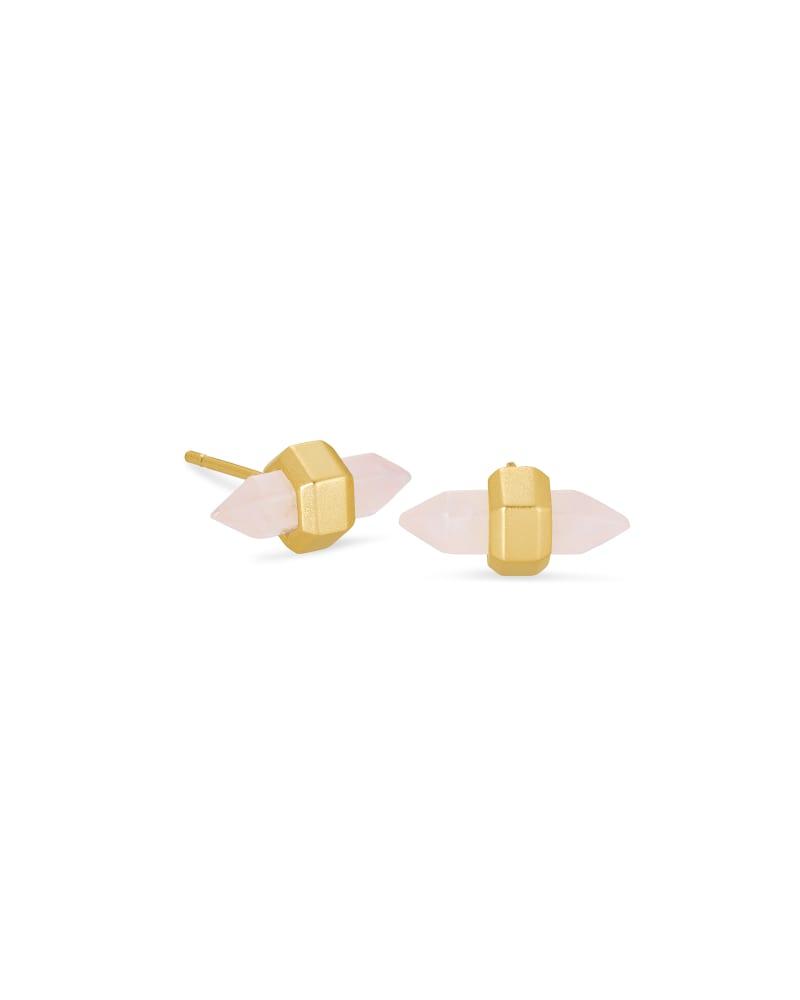 Jamie Gold Stud Earrings in Rose  Quartz