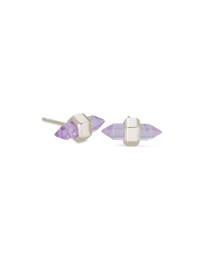 Jamie Silver Stud Earrings in Purple Amethyst