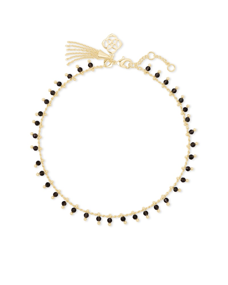 Jenna Gold Anklet in Black Obsidian