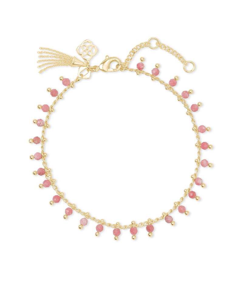 Jenna Gold Delicate Chain Bracelet in Pink Rhodonite