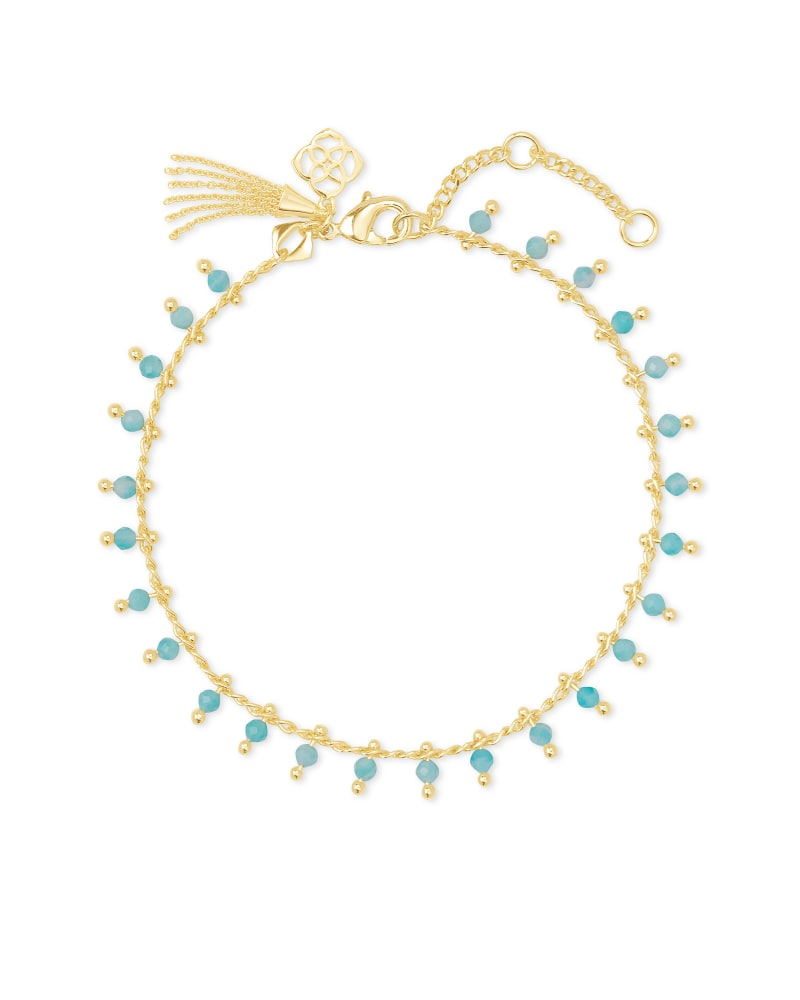 Jenna Gold Delicate Chain Bracelet in Teal Amazonite