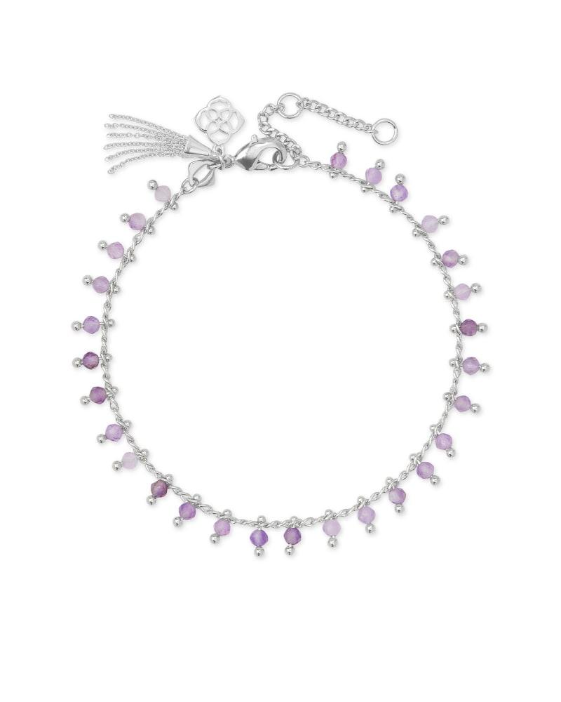 Jenna Silver Delicate Chain Bracelet in Purple Amethyst