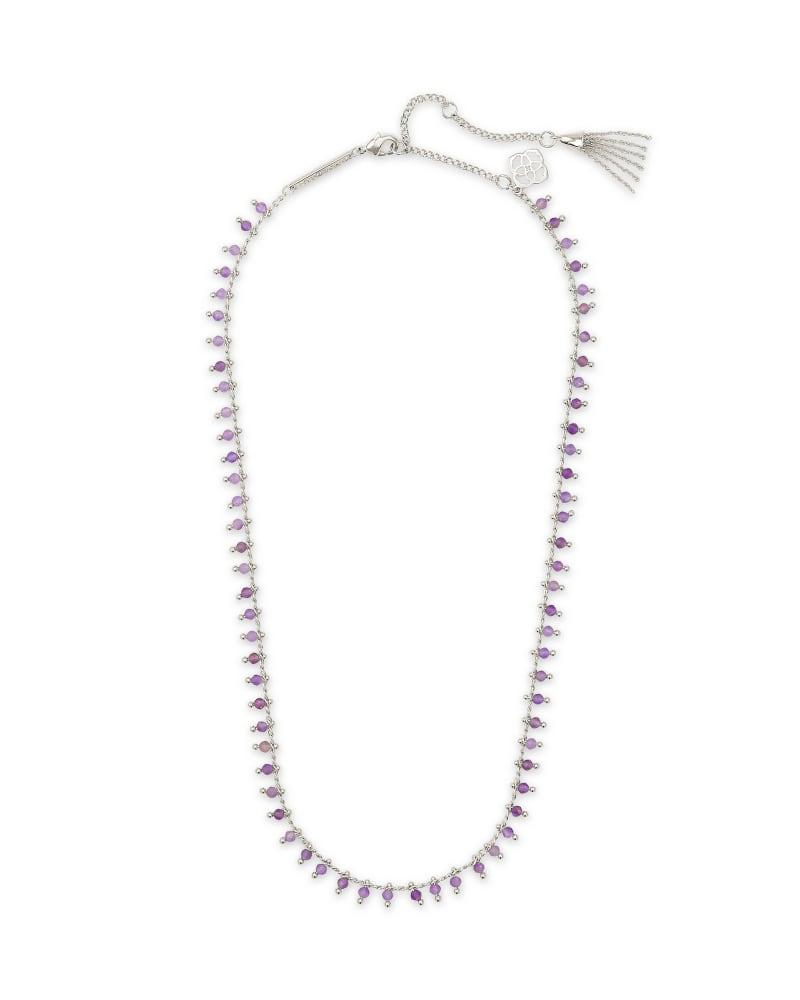 Jenna Silver Choker Necklace in Purple Amethyst