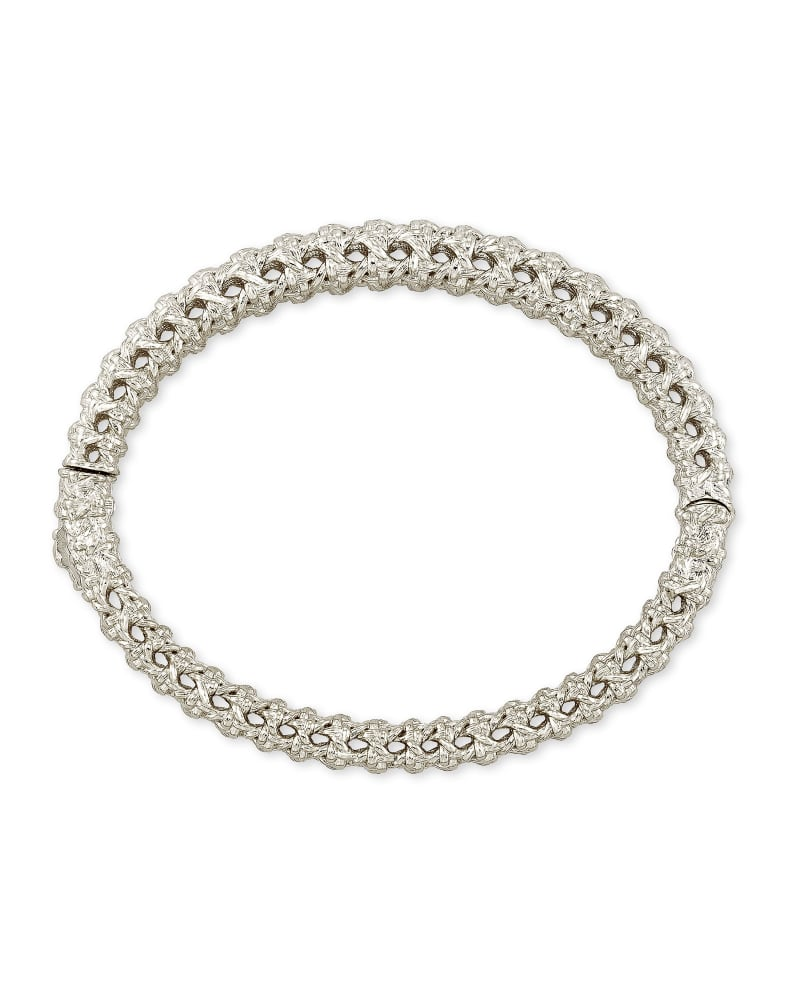 Natalie Hinge Bangle Bracelet in Silver