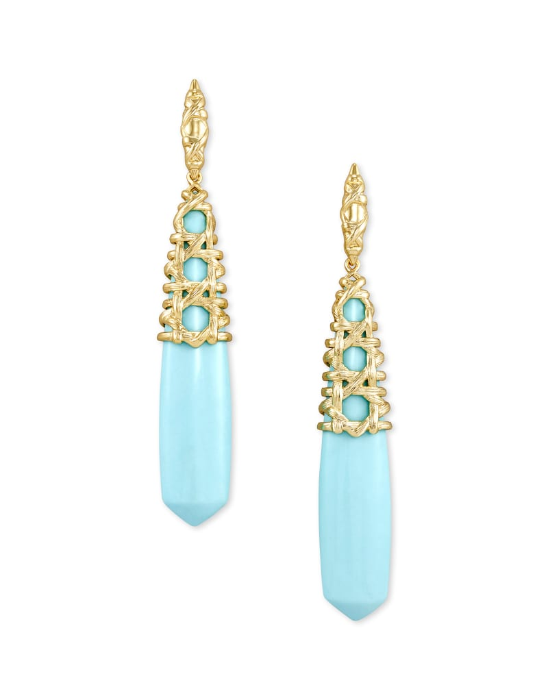 Natalie Gold Linear Earrings in Light Blue Magnesite