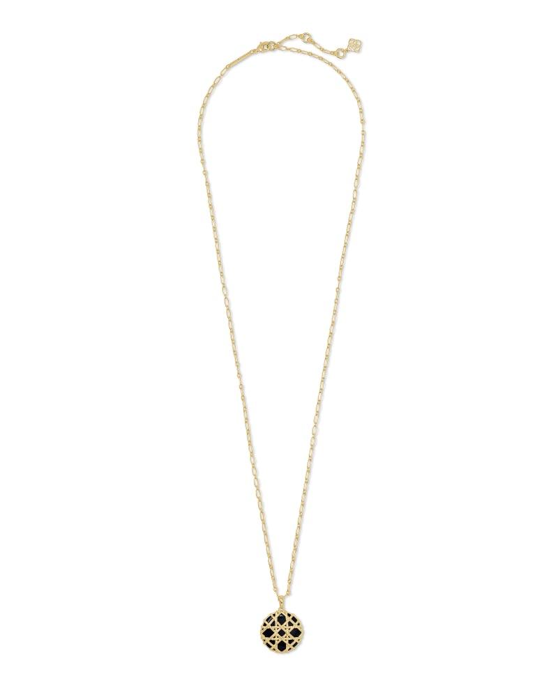 Natalie Gold Long Pendant Necklace in Black Obsidian