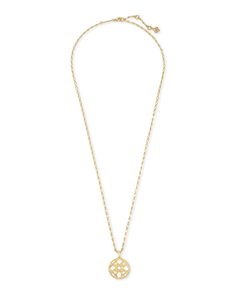 Natalie Gold Long Pendant Necklace in White Mussel