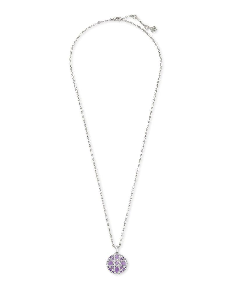 Natalie Silver Long Pendant Necklace in Purple Amethyst