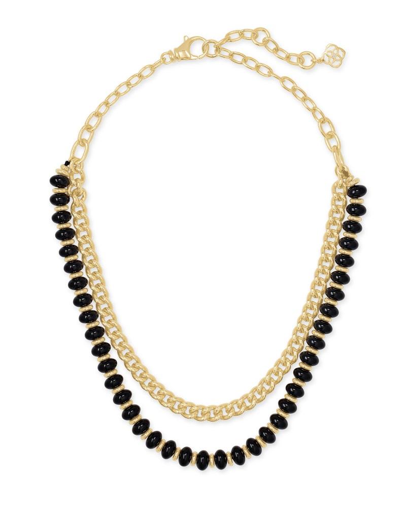 Rebecca Gold Multi Strand Necklace in Black Agate