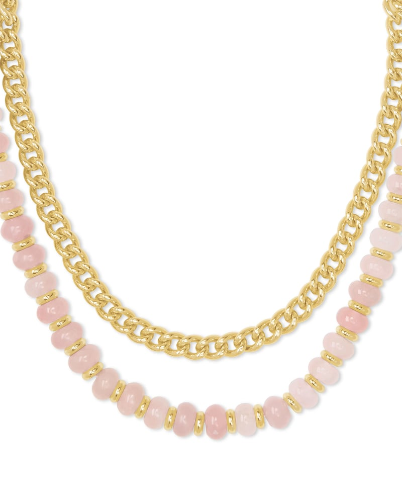 Rebecca Gold Multi Strand Necklace in Rose Quartz
