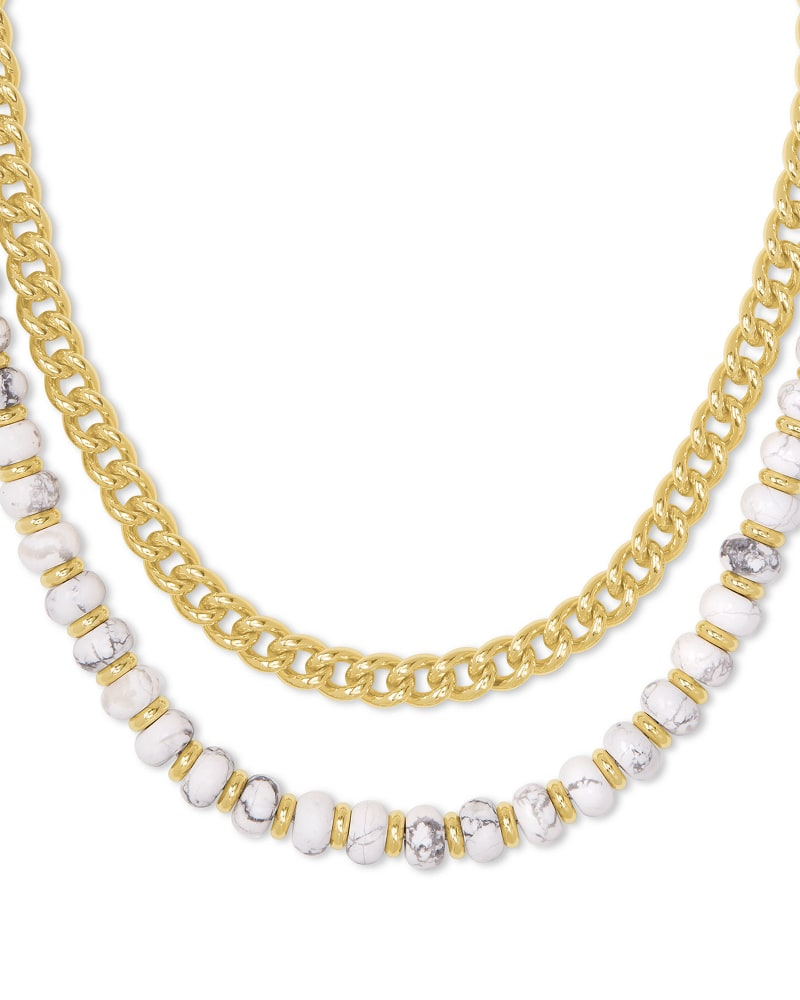Rebecca Gold Multi Strand Necklace in White Howlite