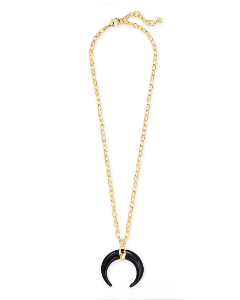 Rebecca Gold Large Long Pendant Necklace in Black Obsidian