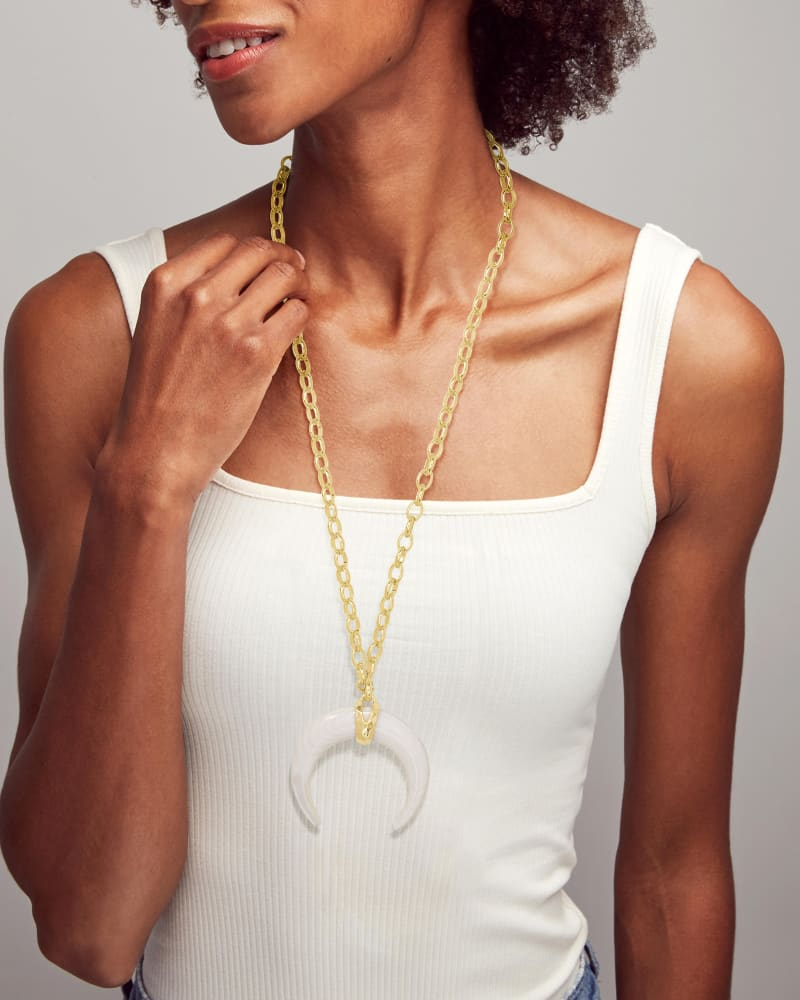 Rebecca Gold Large Long Pendant Necklace in White Mussel